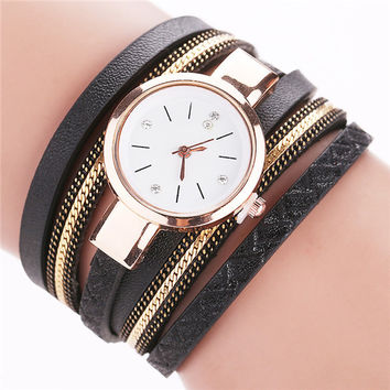 Leather Bracelet Quartz Wrist Watch