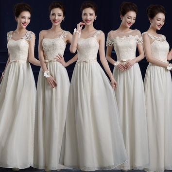 2017 New Champagne Bridesmaid Gown Dress Custom Made One Shoulder Bridesmaid Dresses for Wedding Party Kleid der Brautjungfer