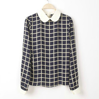 Plaid Peter Pan Collar Long-Sleeve Chiffon Blouse