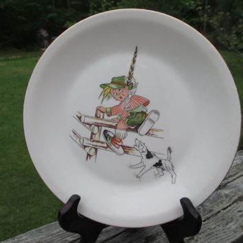 Mid Century Childs Plate Figgjo Flint--Boy Scout Jumping Fence Chasing Dog--Norway--Nursery--Baby Shower Gift--Luncheon Plate