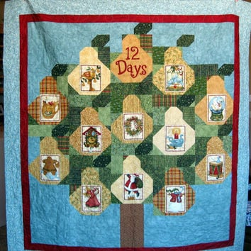 12 Days of Christmas Throw Quilt or Wallhanging, Fabrics by Nancy Halvorsen and Benartex