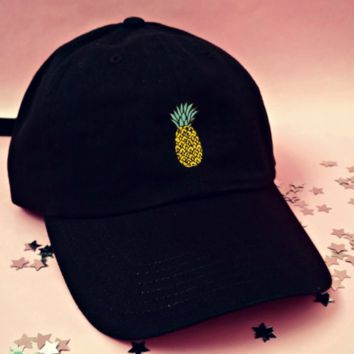 Cute Black Pineapple Embroidered Cotton Baseball Cap Hat