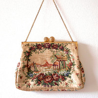 1950s petit point purse / Vintage tapestry bag / Gold metal frame / Champagne satin interior