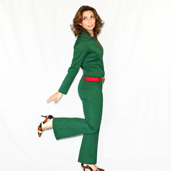 60s jumpsuit. Vintage overall. Christmas jumpsuit. Forest green orange jumpsuit. Low waist. One piece. Mad Men fashion. CIJ