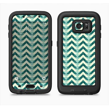 The Vintage Green & Tan Chevron Pattern Full Body Samsung Galaxy S6 LifeProof Fre Case Skin Kit