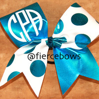 Polka Dot Monogram Cheer Bow