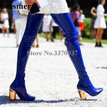 2018 New Fashion Women Pointed Toe Blue PVC Transparent Chunky Heel Over Knee Boot Slim Bandage Long Thick High Heel Boots