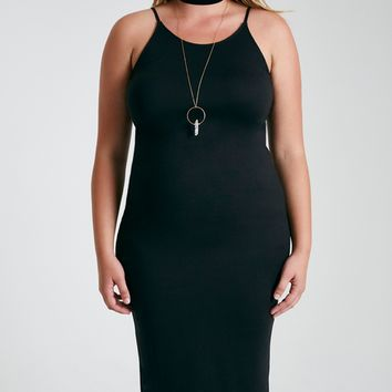 Plus Size Brushed Goddess Neck Midi Dress | Wet Seal Plus