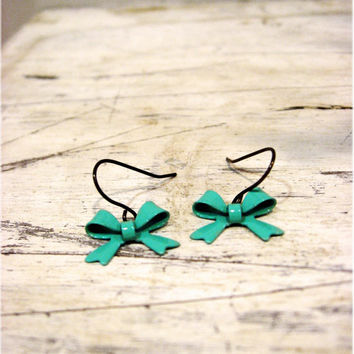 The 'Yes Please' Dainty Turquoise Bow Earrings by sodalex on Etsy