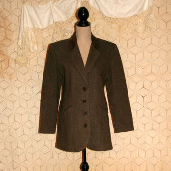 90s Long Blazer Jacket Brown Tweed Wool Riding Jacket Herringbone Suede Collar 1990s Clothing Elaine Seinfeld Size Medium Womens Clothing