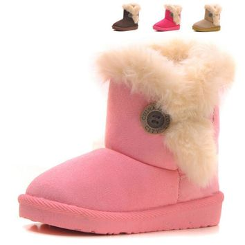 All Sizes 21-35 Children Snow Boots Warm Thick Plush Kids Boots Suede Fur Girls Boots Baby Winter Shoes #XZ038