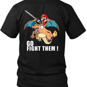 Pokemon And Mario Charizard Fire 2 Sided Black Mens T Shirt
