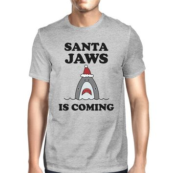 Santa Jaws Is Coming Mens Grey Shirt