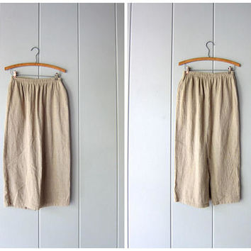 Minimal 90s Skirt Natural Beige Textured Cotton Knit Skirt High Waist Midi Skirt w/ Pockets Plain Basic 80s Long Modern Skirt Womens Medium