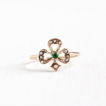 Antique 10k Yellow Gold Shamrock Ring - Edwardian Seed Pearl Emerald Three Leaf Clover