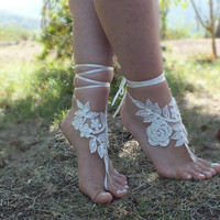 Free Ship bridal banglecream lace anklet embrodeired flowers, beach wedding barefoot sandals, wedding bangles, anklets, bridal, wedding