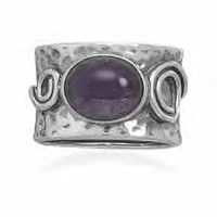 Amethyst Ring With Coil Design Band