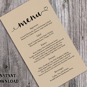 Burlap Wedding Menu Template DIY Menu Card Template Editable Text Word File Instant Download Rustic Menu Heart Menu Template Printable Menu