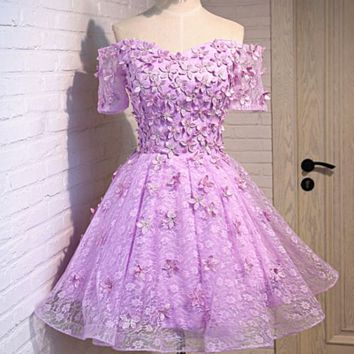 Wedding bridesmaid dress new short sleeve dress purple