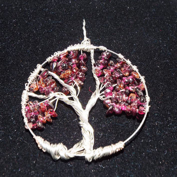 Tree of Life, Natural Garnet Stone / Crystal Wire Wrapped Tree Pendant, Handmade January Birthstone Tree Charm