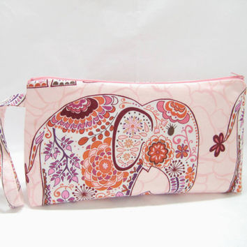 Pink Elephant Pouch,  Elephant Diaper Clutch, Large Zippered Pouch, Travel Bag,  Ready to Ship