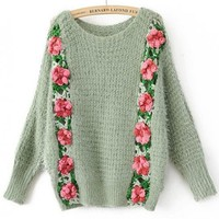 Bat Sleeve Green Sweater with Flowers$50.00