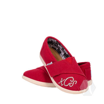 Tiny Canvas Toms with velcro opening Swarovski crystal monogram on one shoe