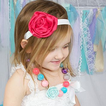 My Lello Toddler/Girl Satin Flower Sparkle Headband