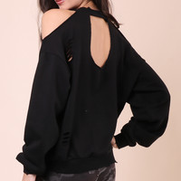 Brooklyn Karma Distressed Cold Shoulder Pullover