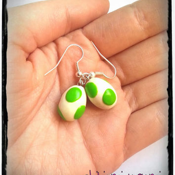 Yoshi eggs earrings charm chibi in polymer clay inspired from Super Mario Nintendo videogame