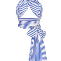 Blue and White Striped All Purpose Scarf