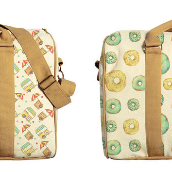 Seamless Food Patterns Printed Oversized Canvas Duffle Luggage Travel Bag WAS_42
