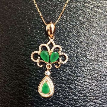 Natural green emerald stone pendant S925 silver Natural gemstone Pendant Necklace trendy Water drop bell women party jewelry