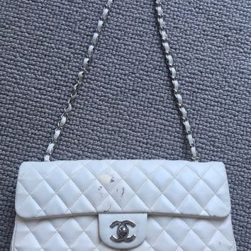 Chanel East West Flap Quilted Ivory White Handbag Bag Silver HW DAMAGE AUTHENTIC