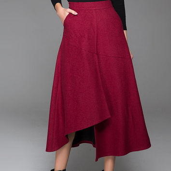 Red Wine Women's Maxi Skirt Asymmetrical Hem Skirt 1432