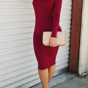Red Long Sleeve Lace Up Back Sheath Dress
