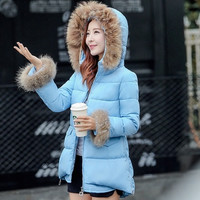 Winter New Korean Version of The Real Raccoon Fur Collar Down Jacket Female Wild Feather Padded Cape A Version = 1753572292