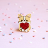 Heart Corgi Enamel Pin