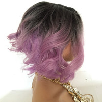 Purple Ombre curly wavy lace front wig 10""