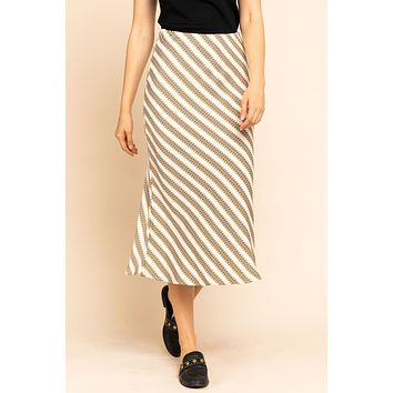 Bias Hound Tooth Stripe Print Midi Skirt - Ivory