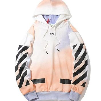 OFF WHITE Paris Color Fashion Women Men Casual Print Hoodie Sweater Pullover Top Sweatshirt