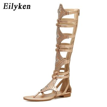Eilyken New Golden Black Casual Women Gladiator Sandals PU Leather Open Toe Knee High Rivet Zip Leisure Sandals Boots Flat