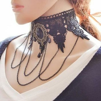 Gothic Steampunk Lace Collar Choker with Gemstone