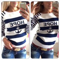 Preppy Sporting Boat Anchor Printed Navy Striped Hooded Fleece T-Shirt Casual Roung Neck Top 02-035