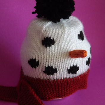 Hand-knit Snowman Hat for Baby