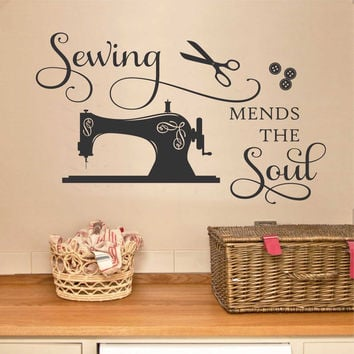 Sewing Mends the Soul | Vinyl Wall Lettering | Sewing Room Decal
