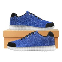 Blue Glitter Light Up Casual Men's Shoes
