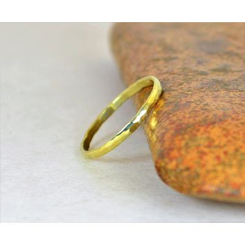 Classic Solid 14k Green Gold Stacking Ring