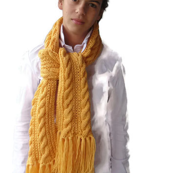 Soft, Hot, Long and impressive hand knitted woman's scarf from Acrylic yarn with tassels. Free shipping worldwide