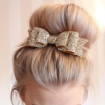 1PC New Fashion Sequin Big Bow Hairpin Ladies Women Children Hairpins  Hair Accessories Girls Baby Hairclips Gifts